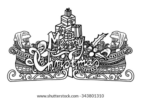 Santa's sleigh and Christmas tree intricate hand drawn coloring page illustration. Black and white zentangle