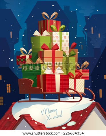 Santa's sleigh. Christmas card \ poster \ banner. Vector illustration. - stock vector