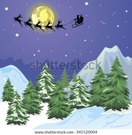Santa s sleigh on Moon background - stock vector