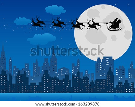 Santa's sleigh over urban skyline - stock vector