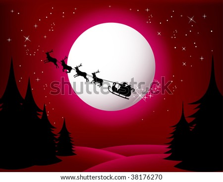 Santa`s Sleigh - vector (red version) check Out My Portfolio For Similar Illustrations ... - stock vector