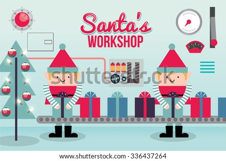 santa's workshop vector/illustration - stock vector