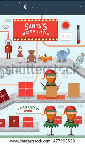 santa's workshop vector/illustration