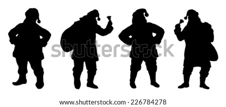santa silhouettes on the white background - stock vector