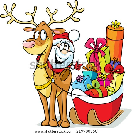 Santa sits on a reindeer drags sleigh full of gifts  - stock vector