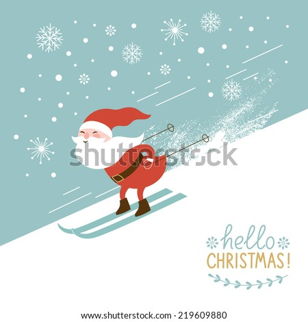 Santa skiing down a mountain slope - stock vector
