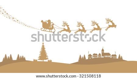 santa sleigh reindeer fly landscape gold silhouette - stock vector