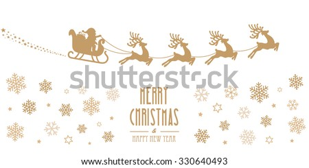 santa sleigh reindeer flying gold silhouette merry christmas