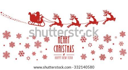 santa sleigh reindeer flying red silhouette merry christmas - stock vector
