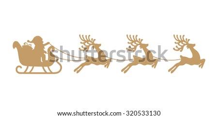 santa sleigh reindeer gold silhouette - stock vector
