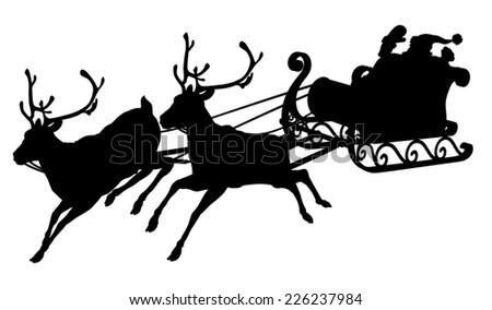 Santa sleigh silhouette of waving Santa Claus in his sleigh and reindeer - stock vector