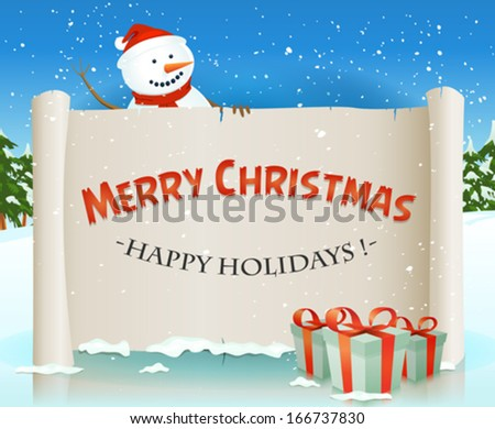 Santa Snowman And Christmas Parchment Background/ Illustration of a cartoon happy santa snowman character holding white parchment scroll, for merry christmas winter holidays and children gift list - stock vector