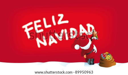Santa sprays feliz navidad - stock vector