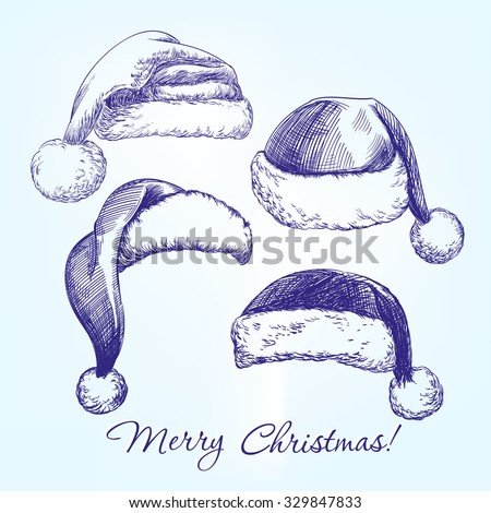 Santa stocking hat set hand drawn vector llustration  realistic  sketch