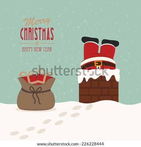 santa stuck in chimney gift bag snow background - stock vector