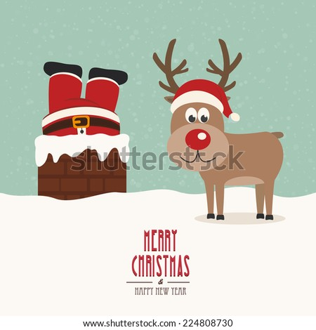 santa stuck in chimney vintage reindeer smile snow background - stock vector