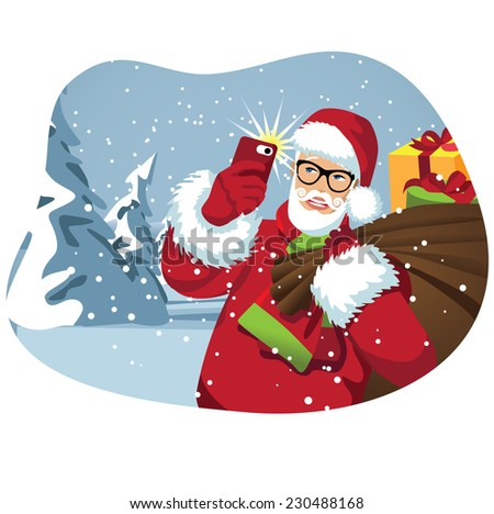 Santa taking a selfie with his bag of gifts EPS 10 vector illustration