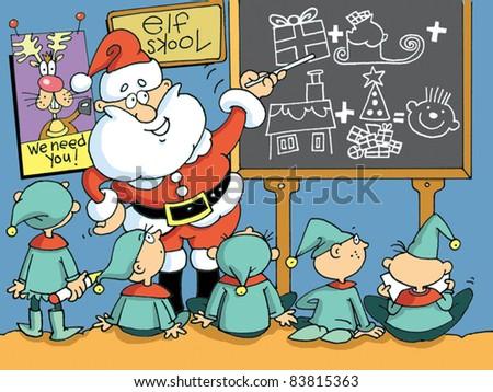 Santa teaching at Elf School - stock vector