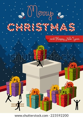 Santa teamwork send Christmas gifts into fireplace greeting card background. EPS10 vector illustration organized in layers for easy editing.