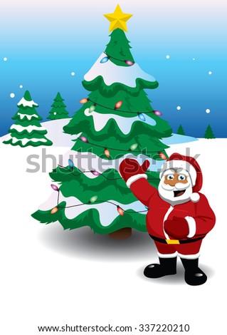 Santa Tree - stock vector