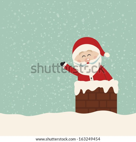 santa wave in chimney snow background