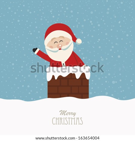 santa wave in chimney snow background - stock vector