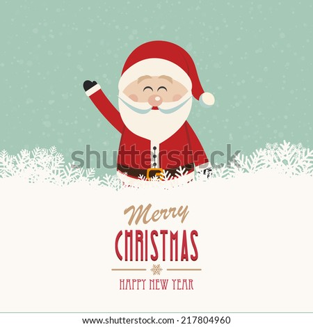 santa wave merry christmas vintage - stock vector