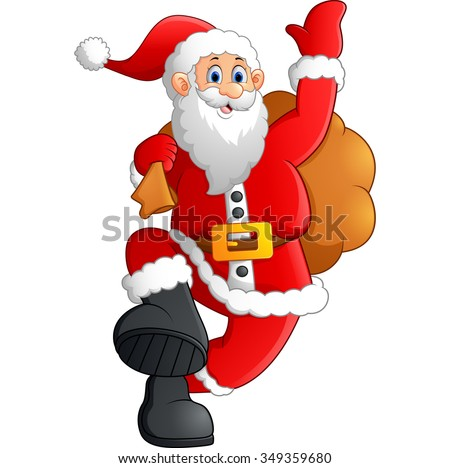 santa waving and holding sack