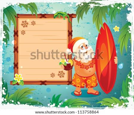 Santa with a surfboard - stock vector