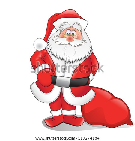 Santa with gifts isolated on a white background - stock vector
