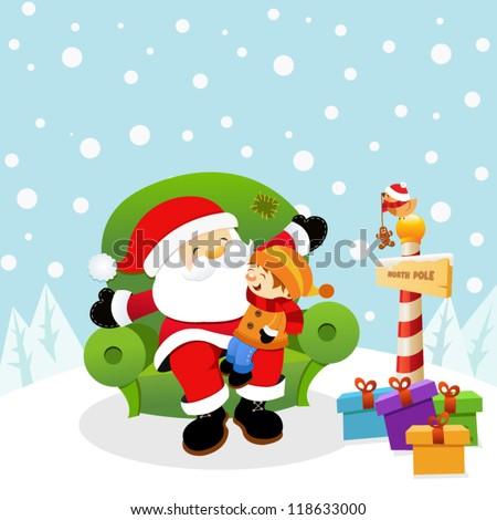 Santa With Kid - stock vector