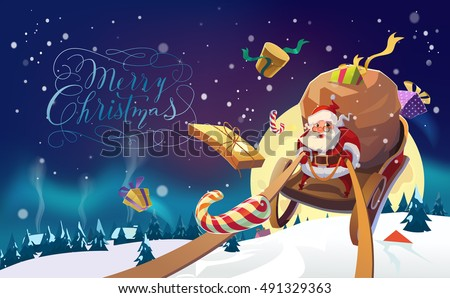 Santa with the bunch of presents riding on a sleigh in the winter forest. Polar Lights background. Winter village. Merry Christmas Lettering. Vector illustration.