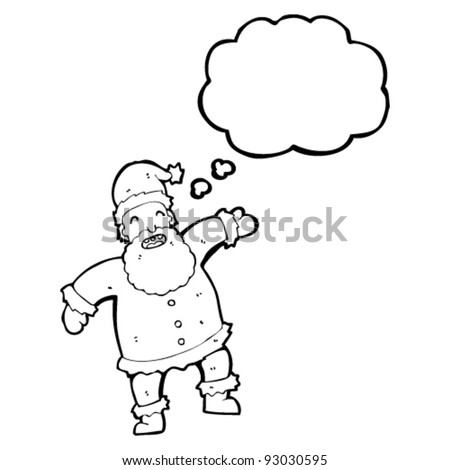 santa with thought bubble cartoon