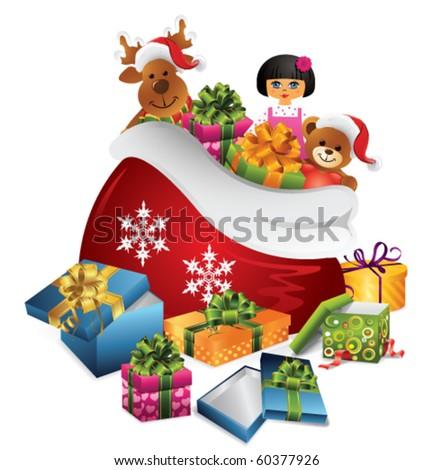 Santas sack - stock vector