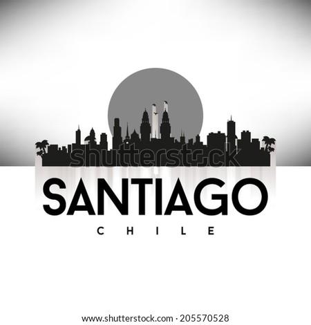 Santiago Chile Skyline Silhouette Black design, vector illustration. - stock vector