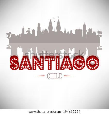 Santiago Chile skyline silhouette design, vector illustration. - stock vector