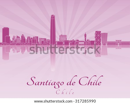 Santiago de Chile skyline in purple radiant orchid in editable vector file - stock vector