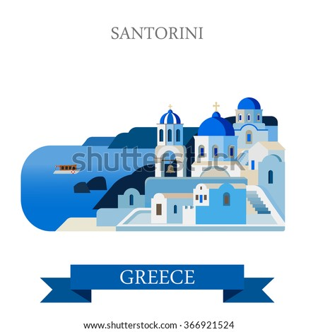Santorini Aegean Sea Islands in Greece. Flat cartoon style historic sight showplace attraction web site vector illustration. World countries cities vacation travel sightseeing collection. - stock vector