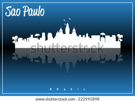Sao Paulo, Brazil skyline silhouette vector design on parliament blue and black background. - stock vector