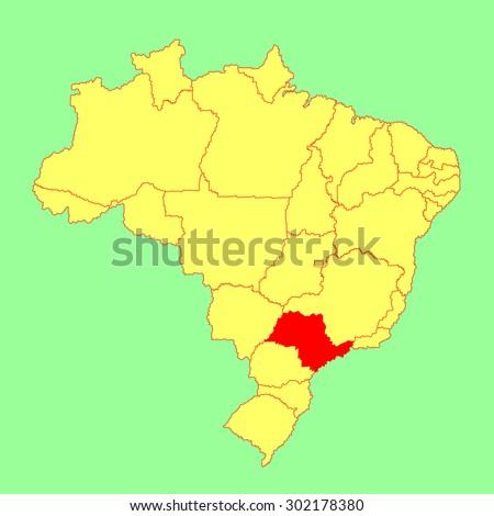 Sao Paulo Brazil Vector Map Isolated Stock Vector 302178380