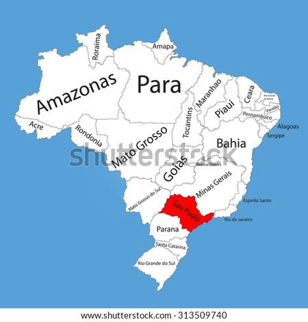 Sao paulo brazil vector map isolated vector de stock313509740 sao paulo brazil vector map isolated on brazil map editable vector map of gumiabroncs Images