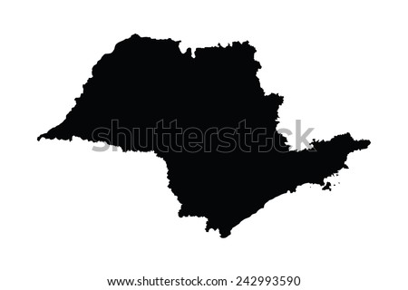 Sao Paulo, Brazil, vector map isolated on white background. High detailed silhouette illustration.  - stock vector