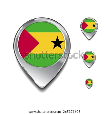 Sao Tome and principe flag map pointer. 3d Map Pointer with flag glossy button style on gray background - stock vector