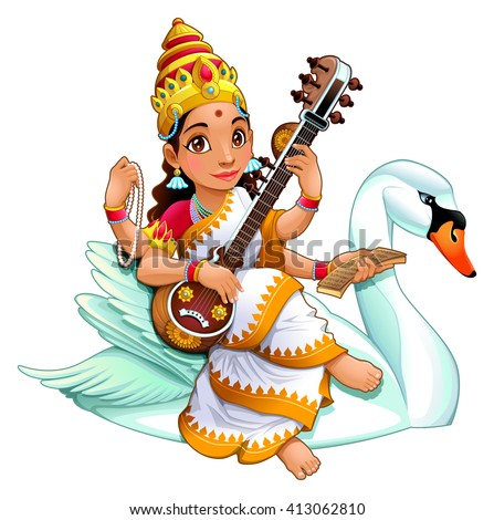 Sarasvati, Hindu goddess of knowledge, music, arts, wisdom and learning. Vector cartoon isolated character. - stock vector
