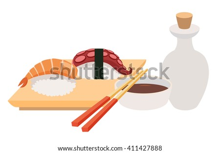 Sashimi and chopstick vector illustrations. Sushi and soy sauce vector. Seafood, fish fillet. Japanese food objects set. Cartoon style asian food. Vector illustration isolated on white background - stock vector