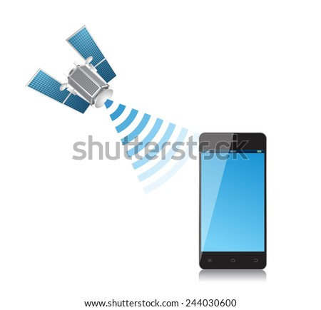 Satellite and mobile phone - stock vector