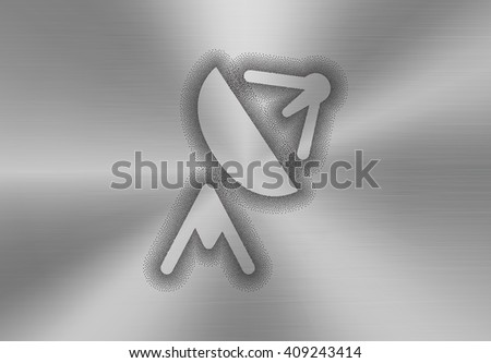 Satellite antenna icon made of stipples like sprayed paint on a brushed metal background. Satellite, telecommunication, broadcast and television abstract concept. Vector illustration - stock vector