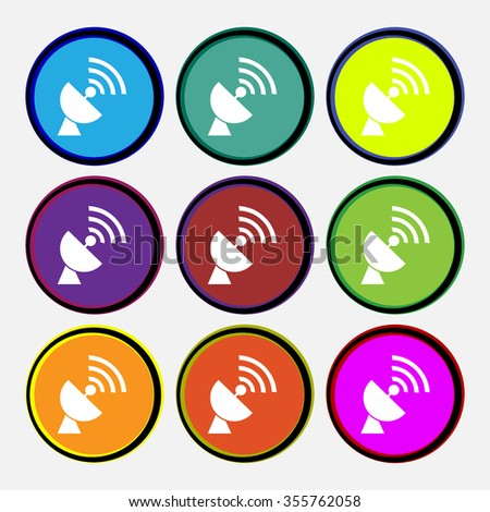 Satellite antenna icon sign. Nine multi colored round buttons. Vector illustration - stock vector