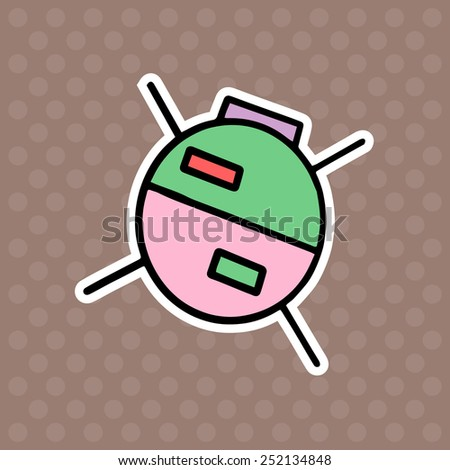 Satellite cartoon illustration isolated on brown background - stock vector