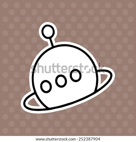 Satellite cartoon illustration isolated on brown background without color - stock vector